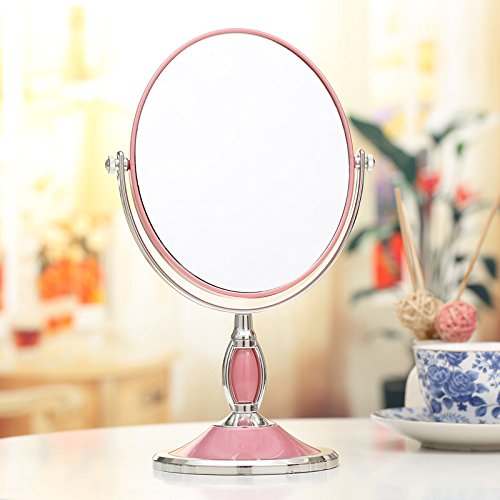 "Beauty Mirror Makeup Mirror Magnification Vanity Cosmetic Mirrors Shaving Mirror Desktop Mirror European Double-Sided Mirror Portable Marriage Princess Mirror 3X Hd Zoom Mirror,Pink,6 ""17×27Cm chic"