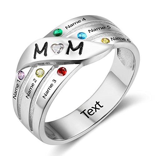 Lam Hub Fong Personalized Mom's Rings Sterling Silver Mothers 6 Birthstone Daughters Family Mom Rings For