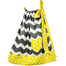 Wholesale Princess Gray Chevron with Yellow Trim Cotton Pillow Case Dress