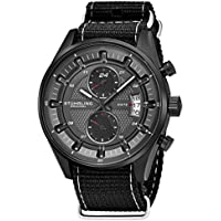 Stuhrling Original Men's Analog Watch – Stainless Steel True Dual Time Zone GMT W/Date Sports Watch – Comfortable, Durable NATO Nylon Strap – 845 Series (Grey/Black)