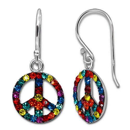 (Peace Sign Earrings With Crystal Stones. Silver Plated 925 Sterling Jewelry Girls)