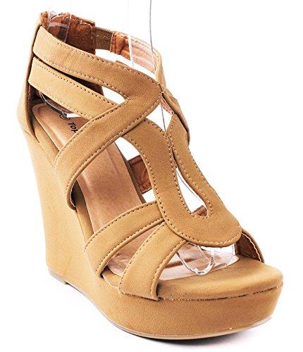 JJF Shoes Top Moda Women's Strappy High Heel Platform Wedges Sandals Tan 8 B(M) US
