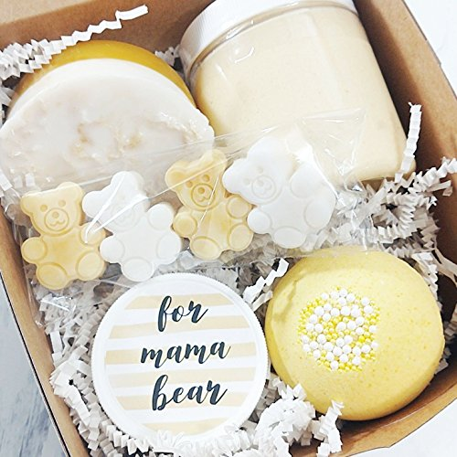 Mama Bear Spa Gift Set. Baby Shower Gifts for New Moms. Pampering Boxed Set for Mothers to Be by Sunbasil Soap