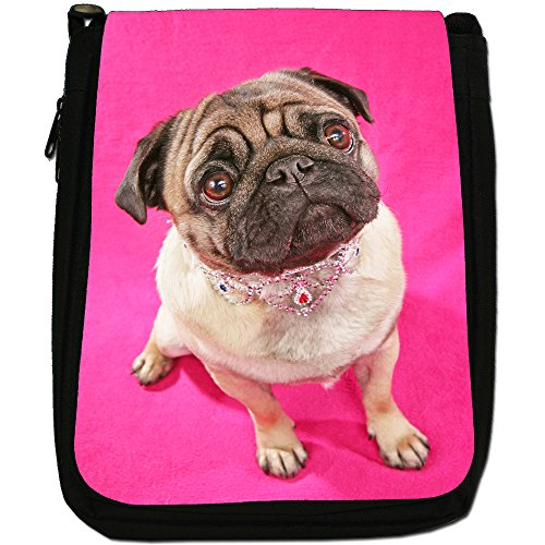 Canvas China Bag Asian Dogs Shoulder Black Love Wearing Pug Medium Pretty Jewellery Size qYB8wqr