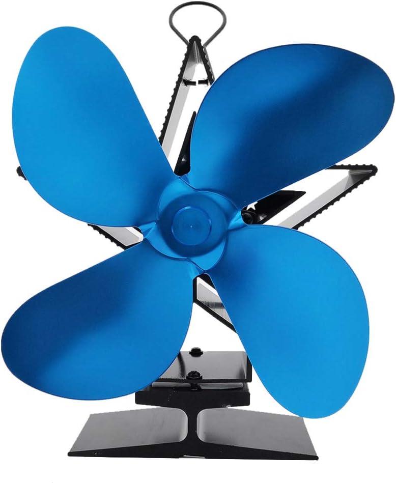Vosarea ventiladores de la chimenea alimentados con calor 4 cuchillas ecológicas de afeitar estufas de aire caliente quemadores protección contra sobrecalentamiento del ventilador (azul)