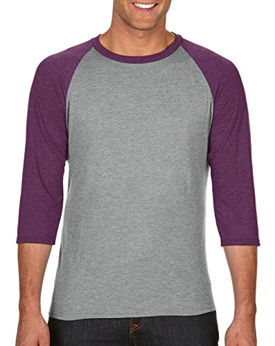Anvil Adult Tri-Blend 3/4-Sleeve Raglan T-Shirt, HeatherGry/HthrAuberg, Medium
