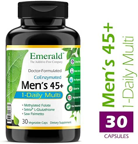 Men's 45+ 1-Daily Multi - Multivitamin with CoQ10, Saw Palmetto & Extra Lycopene - Supports Heart Health, Energy Boost, Immune System, Strong Bones - Emerald Laboratories - 30 Vegetable Capsules