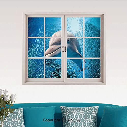 (Sea Animals Decor Removable Wall Sticker/Wall Mural,A Bottlenose Dolphin in Ocean Fish Sunlight in Marine Natural Underwater Creative Close Window View Wall Decor,24