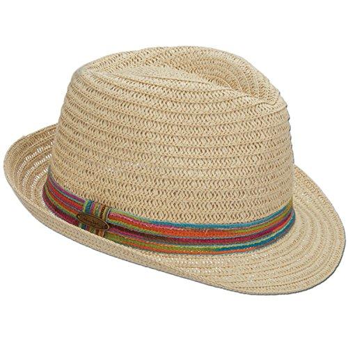 Logo Natural - Panama Jack Women's Paper Braid Woven Fedora, 1 1/2