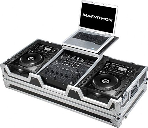 Marathon Flight Road Case MA-CDJ2K12WLT Coffin Holds 2 X Large Format CD Players: Pioneer Mixer, Behringer, Denon with Laptop Shelf and Wheels Cdj Coffin