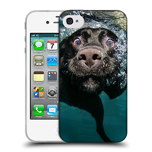 Just Phone Cases Coque de Protection TPU Silicone Case pour // V00004326 chien fou drôle aime la plongée // Apple iPhone 4 4S 4G