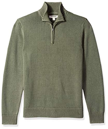Goodthreads Men's Soft Cotton Quarter Zip Sweater, Washed Olive, Large
