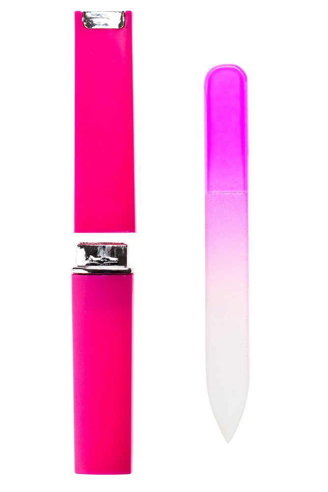 Pink Quality Nail Art Manicure Crystal Glass Nail File Buffer in Box By VAGA®
