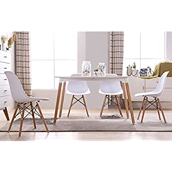 This Item GreenForest Eames Chair Natural Wood Legs Cushion Seat And Back For Dining Room Chairs Set Of 4 White