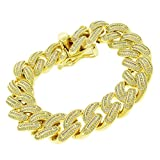 .925 Sterling Silver 18mm Miami Cuban Curb Link CZ Baguette Iced Out Bling Bracelet Chain Yellow Gold Plated 8.75''