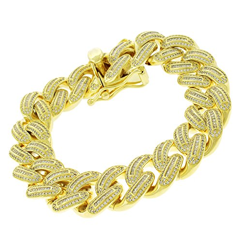 .925 Sterling Silver 18mm Miami Cuban Curb Link CZ Baguette Iced Out Bling Bracelet Chain Yellow Gold Plated 8.75'' by In Style Designz
