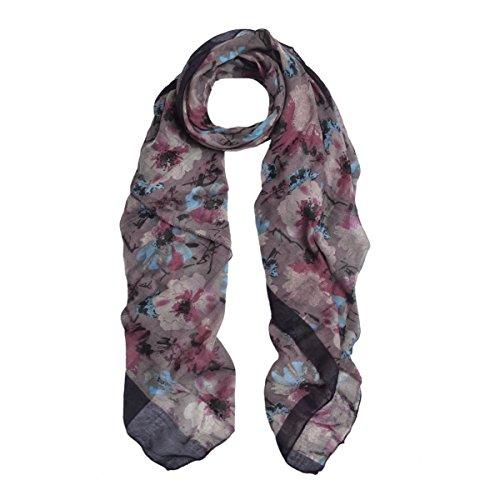 Elegant Viscose Artistic Plum Blossom Floral Print Fashion Scarf Wrap, (Floral Plum)
