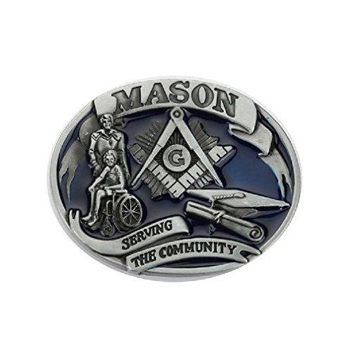 Serving the Conmmunity Mason Masonic Freemason Belt Buckle Vintage Leather Red