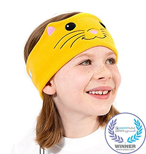 CozyPhones Kids Headphones Volume Limited with Ultra-Thin Speakers Soft Fleece Headband - Perfect Childrens Earphones for Home and Travel - CAT