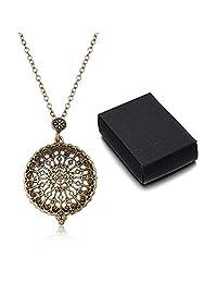 Filigree Magnifier Magnifying Glass Sliding Top Magnet Pendant Necklace