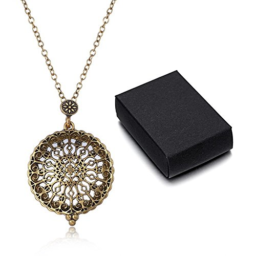 HOUSWEETY Magnifier Magnifying Glass Sliding Top Magnet Pendant Necklace with Gift Box Glass Top Gift Box
