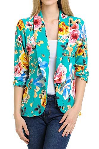 MINEFREE Women's 3/4 Ruched Sleeve Lightweight Work Office Blazer Jacket AQUAPINKBLUE M (Womens 3/4 Sleeve Jacket)