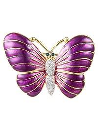 Ever Faith Gold-Tone Austrian Crystal Purple Enamel Chic Butterfly Animal Brooch Pin Clear N07787-1