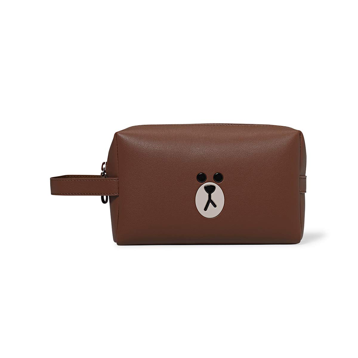 Line Friends Cosmetic Bag – BROWN Character Faux Leather Travel Pouch and Organizer for Toiletry and Makeup, Brown