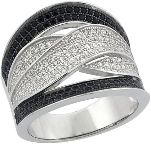 Sterling Silver Micro Pave CZ Stones Ladies Band Ring