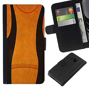 KLONGSHOP // Tirón de la caja Cartera de cuero con ranuras para tarjetas - Resumen Negro Naranja - HTC One M7 //