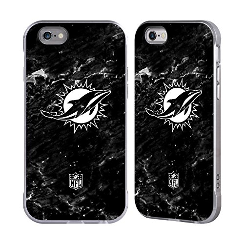 Official NFL Marble 2017/18 Miami Dolphins Silver Fender Case for Apple iPhone 6 / iPhone 6s Dolphin Fender