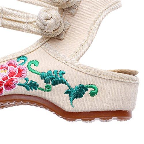 Fanwer Bordado de Las Mujeres Punta Redonda Slingback Lienzo Sandalias de Luz de La Flor Zapatos de Tela Ocasionales Beige