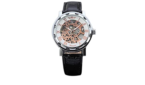 Amazon.com: joyliveCY Pu Leather Band Automatic Mechanical Skeleton Watch For Men Fashion Gear Wrist Watch Reloj Army Hombre Horloge White&Gold: Watches