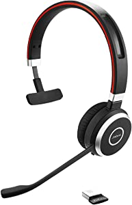 Jabra Evolve 65 UC Wireless Headset, Mono – Includes Link 370 USB Adapter – Bluetooth Headset with Industry-Leading Wireless Performance, Passive Noise Cancellation, All Day Battery