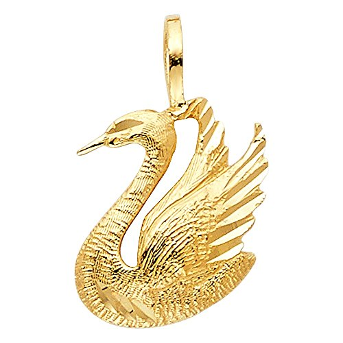 14k Yellow Gold Beautiful Swan Pendant 14k Yellow Gold Swan Pendant
