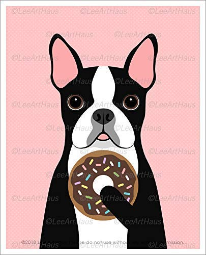 569D - Boston Terrier Dog Eating Chocolate Frosted Donut with Rainbow Sprinkles UNFRAMED Wall Art Print by Lee ArtHaus