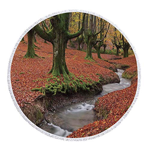 iPrint Thick Round Beach Towel Blanket,Landscape,Flowing Stream Colorful Autumn Forest Leaves Gorbea Natural Park Spain,Paprika and Green,Multi-Purpose Beach Throw by iPrint