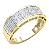 0.40 Carat (Ctw) 14K Yellow Gold Round Diamond Men's Hip Hop Anniversary Wedding Band (Size 11)