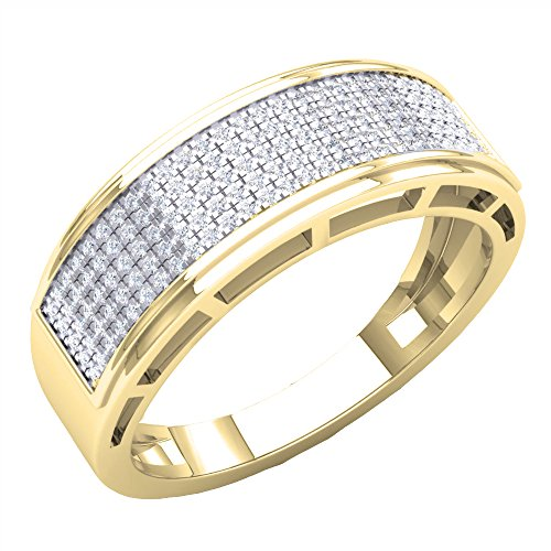 0.40 Carat (Ctw) 18K Yellow Gold Round Diamond Men's Hip Hop Anniversary Wedding Band (Size 8) by DazzlingRock Collection