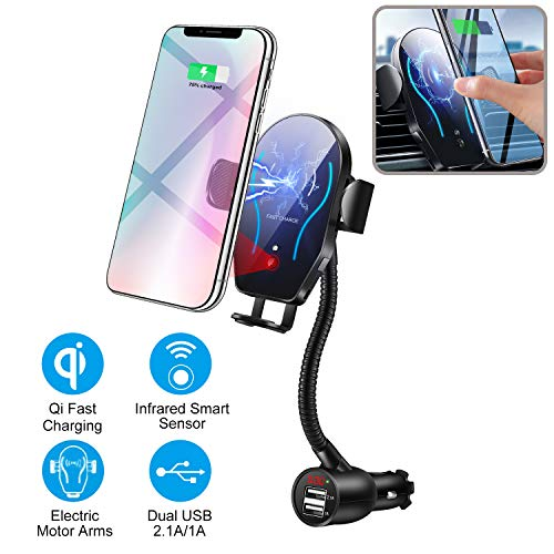 UPSTONE Car CigaretteLighter Wireless Charger- Phone Holder Mount,Automatic Infrared Smart Sensing 10W Qi Fast Wireless Charging Cradle for Cell Phone,Dual USB, 3.1A Max