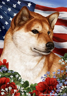 Best of Breed Shiba Inu Red Patriotic Garden Flags