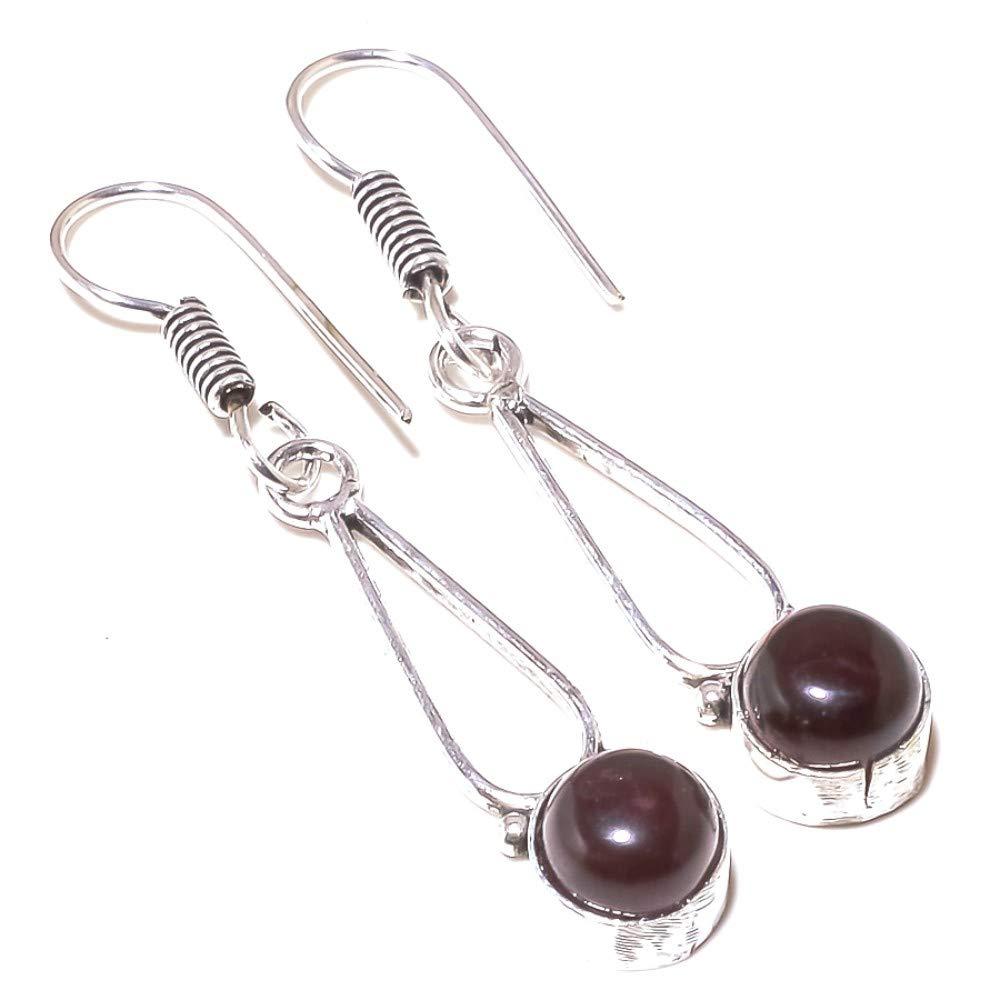 Red Garnet Quartz Sterling Silver Overlay 5 Grams Earring 2 Long Ethnic Wear