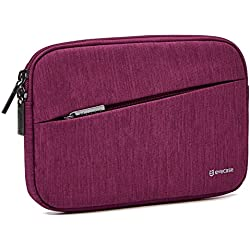 7.9- 8.9 inch Tablet Sleeve, Evecase Water Repellent Shockproof Portable Carrying Sleeve Protective Case Bag with Accessory Pocket for Apple Samsung Huawei Asus and More - Wine Red