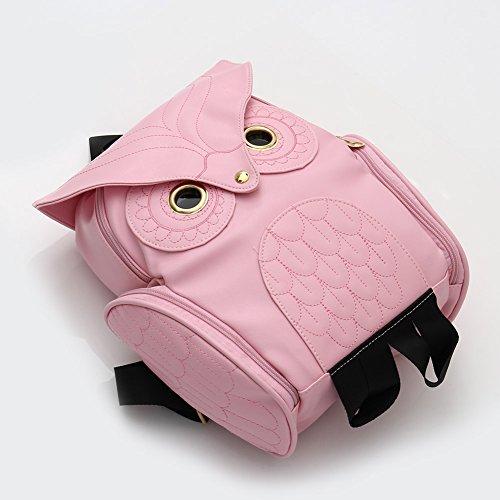 Dxlta lindas Bolsos Para Chicas Adolescentes-Cuero de PU Animados Mochila | Bolso de la Escuela Buho (Dorado) Rosa