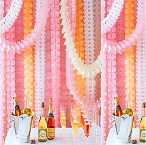 Mexlor Hanging Garland Four-Leaf Tissue Paper Flower Garland Reusable Party Streamers Party Wedding Decorations, 11.81 Feet/3.6M Each, Pack of 6 (Pink-White-Orange)]()