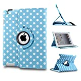 Revesun White Big Polka Dot 360 Rotate PU Leather Case Cover Stand for ipad mini 2 ipad mini2 Apple iPad Mini - Blue