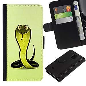 All Phone Most Case / Oferta Especial Cáscara Funda de cuero Monedero Cubierta de proteccion Caso / Wallet Case for Samsung Galaxy S5 Mini, SM-G800 // Friendly Cobra Snake