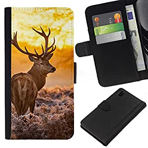 Stuss Case / Funda Carcasa PU de Cuero - Majestic Sol ciervos - Sony Xperia Z1 L39