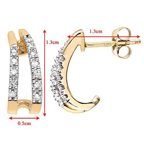 Revoni-Boucles d'Oreilles Or Jaune 9Carats Diamant Mesdames 10pt