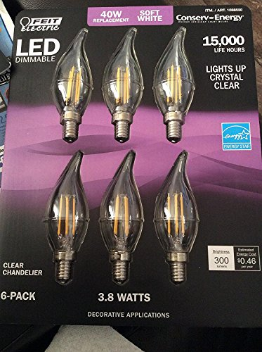 - Feit Dimmable LED Clear Chandelier Soft White 6-Pack (40W Replacement) 3.8W